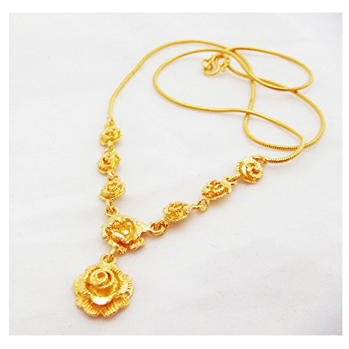 Rose Flower 22k 23k 24k Thai Baht Yellow Gold GP Necklace (22k Gold Jewelry)