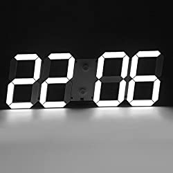 Nexttechnology Modern Minimalist Jumbo LED Digital Skeleton Wall Clock Plus with Thermometer, Calendar, Alarm, Countdown, Timer for Home/Airport/Gymnasium (White)