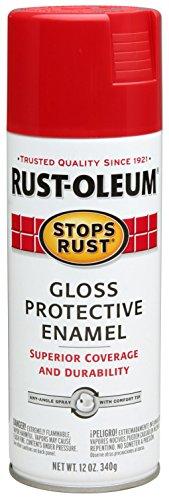 - Rust-Oleum 7762830 Stops Rust Spray Paint, 12 Ounce, Gloss Sunrise Red