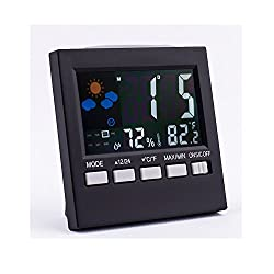 Aottop High Accuracy Indoor Humidity Monitor Hygrometer Digital Thermometer Monitor Home Weather Station with LCD color display Alarm Clock Calendar Function