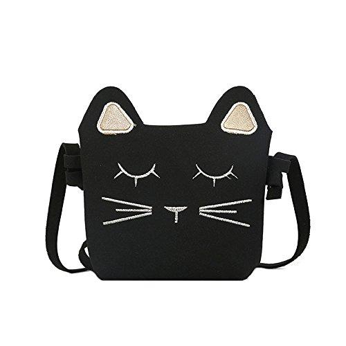 Bolso del bolso del bolso de hombro de las niñas lindas, mini bolsos de la princesa, bolso del mensajero del cuerpo cruzado del gato Negro