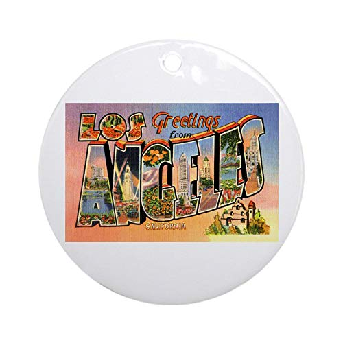CafePress Los Angeles California Greetings Ornament (Round) Round Holiday Christmas Ornament]()