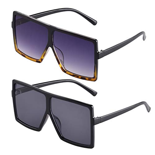 2 Pack Oversized Sunglasses Trendy for Unisex, UV Protection Square Lens, Ideal for Outdoor Activity Leisure Time (Black-Leopard)