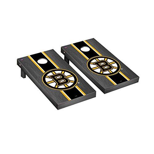 Victory Tailgate Boston Bruins NHL Regulation Cornhole Game Set Onyx Stripe Version