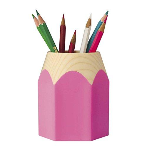 (Starsource Unisex Oval Round Plastic Pen Pencil Holder Desk Organizer (Pink))