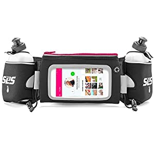 Hydration Running Belt Deluxe for Runners With Touchscreen And 2 Bottles, fits iPhone 6 Plus (Pink)