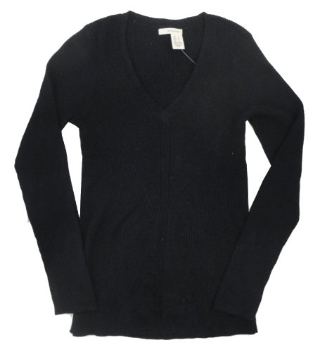 DKNY Jeans Women's Classic V-Neck Sweater, Black, Small