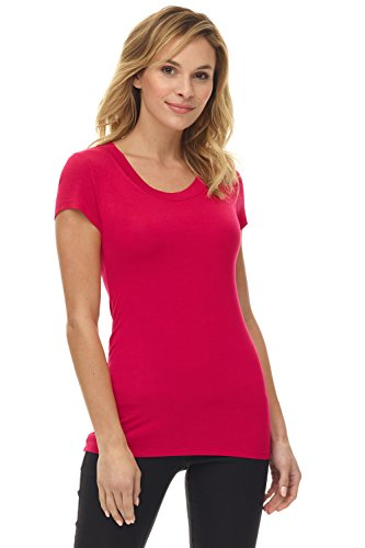 Sexy Clothing Catalogs - Rekucci Women's Perfectly Soft Basic Fitted Short Sleeve Scoop Neck T Shirt (XX-Large,Red)