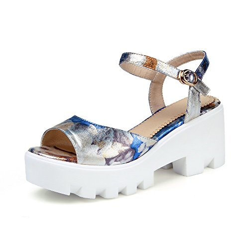 AllhqFashion Women's Open Toe High Heels Assorted Color Buckle Sandals Blue