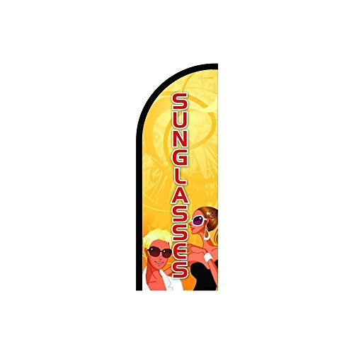 Above All Advertising, Inc. Sunglasses Sign Feather Flag, Business Advertising Flags, Pre Printed Flutter Banner Flag ONLY (7.8' Feet) ()