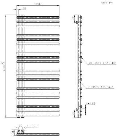 Mittelanschluss, grau Badheizk/örper CANVAS in 120 x 50 cm