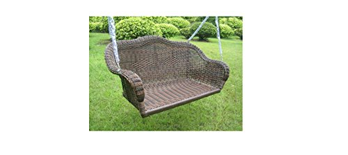 International Caravan Chelsea Wicker Resin Hanging Loveseat Patio Swing (Many Colors)