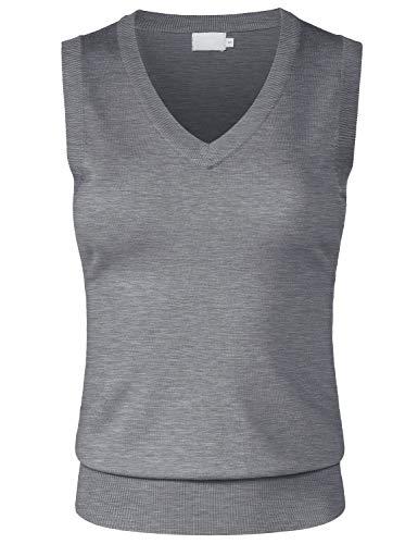 Womens V-neck Sweater Vest - JSCEND Women's Solid Basic V-Neck Sleeveless Soft Stretch Pullover Sweater Vest Top HeatherGray L