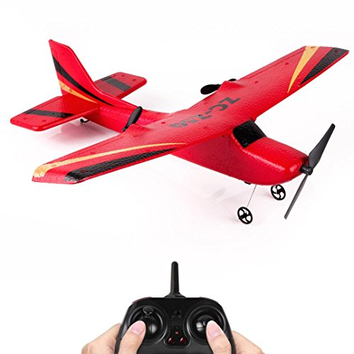 (E-SCENERY Z50 2.4G 2CH Gyro RTF Remote Control Glider, 350mm Wingspan EPP Micro Indoor RC Airplane With USB Rechargeable Battery (Red))