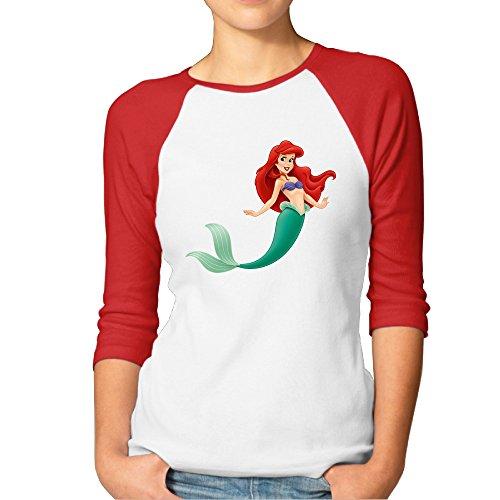 Cartoon Beautiful The Little Mermaid Woman T-Shirts 3/4 Sleeve Raglan Funny Tops (Cartoon Tombstone)
