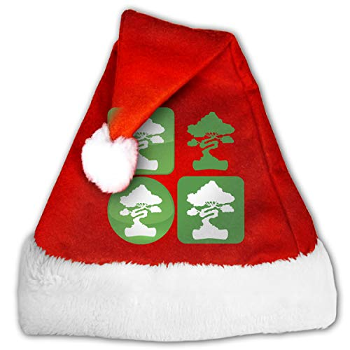 Festival Red & White Christmas Santa Beanie with Bonsai Tree Icon Printing,XmasParty