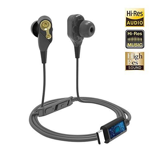 USB C Headphones Pixel 2, Stouchi Dual Dynamic Drivers Earphones Hi-Fi Type C Digital Stereo Earbuds with DAC Noise Reduction Chip for Pixel 2/2xl, HTC, Huawei, Moto Z, Essential Ph-1, and More