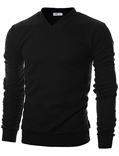 Black Ribbed V-neck Sweater - Ohoo Mens Slim Fit Ribbed Fabric Light Weight V-Neck Pullover Sweater/DCP045-BLACK-2XL