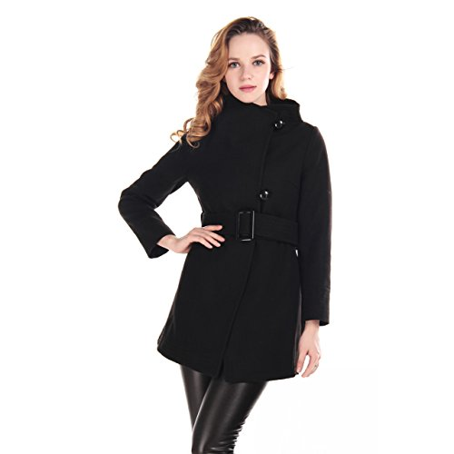 Womens Wool Blends Winter Coat Funnel Neck with Blet Outwear X-Larger Black