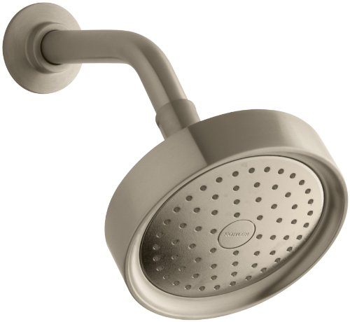 KOHLER 965-AK-BV Purist 2.5 GPM Single-Function Wall-Mount Showerhead with Katalyst Spray, Vibrant Brushed Bronze