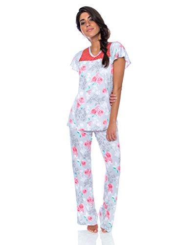 kathy ireland Womens 2 pc Cap Sleeve Pajama Set XL Light Grey w Floral Print