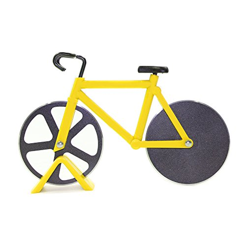 Price comparison product image Bicycle Pizza Cutter, Langxian Pizza Slicer Dual Stainless Steel Non-stick Cutting Wheels With a Stand (Yellow)