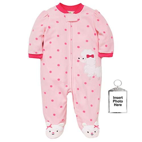 (Little Me Warm Fleece Baby Pajamas Footed Blanket Sleeper Footie Poodle Pink 3 Months)