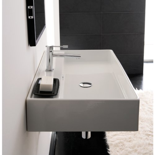 Scarabeo 8031/R-60-One Hole Teorema Rectangular Ceramic Wall Mounted/Vessel Sink, White