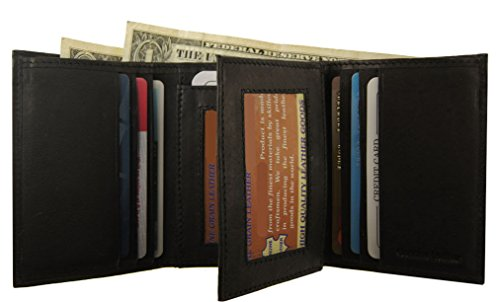 Black Id Mens 2 Wallet Credit Wallets Trifold Flap Center Cow Prime Leather Card f6fwqnrA