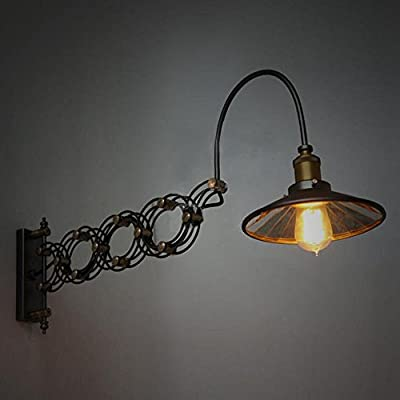 SUSUO Lighting Industrial Look Scissor Extendable Accordion Wall Sconces Loft Style Iron Art Wall Lamp