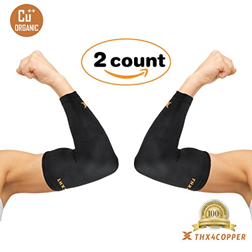 Full Elbow Support (Thx4 Copper Elbow Compression Sleeve(1 Pair) - #1 Copper Infused Support –Guaranteed Recovery Copper Elbow Brace-Idea for Workouts, Sports, Golfers, Tennis Elbow, Arthritis, Tendonitis-Large)