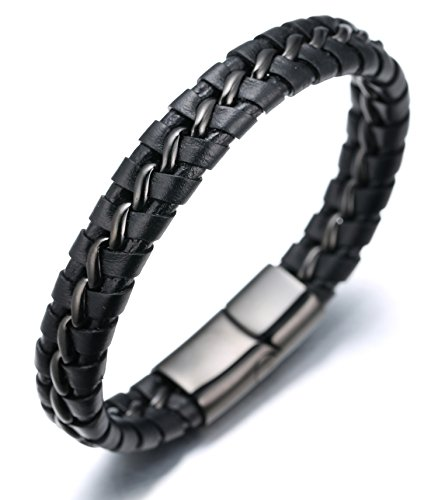 Black Leather Mens Bracelet - Halukakah