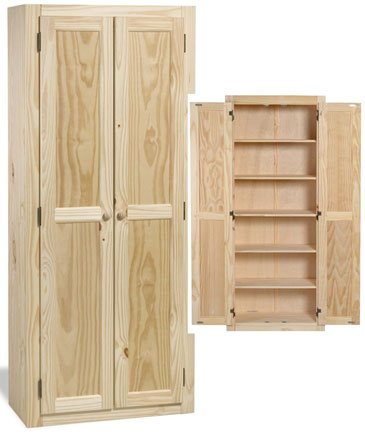 Amazon.com: Solid Wood Large Unfinished Kitchen Pantry / Cabinet ...