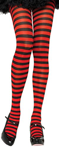 ToBeInStyle Women's Nylon Horizontal Striped Tights - Black/Red - One (Red And Yellow Striped Tights)