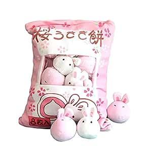 8PCS Plush Mini Dolls,Ins Big Bag of Chicken Pudding Big Bag Bunny Pillow Doll Simulation Innovative Snacks Doll Ball