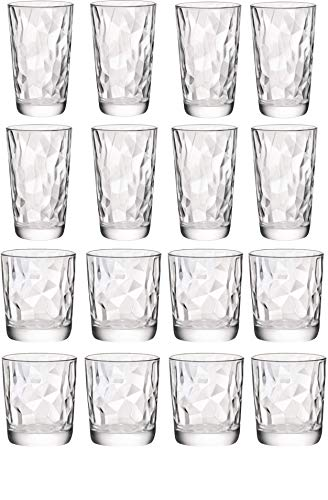 (Circleware 40159 Cabrini Set of 16, Drinking Glasses & Whiskey Cups, Glassware for for Water, Beer, Juice, Ice Tea, Bar Beverage Gifts, 8-15.7 oz. & 8-12.5 oz, 16pc)