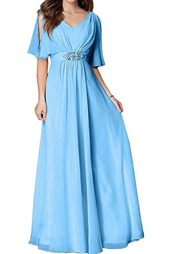 Bodenlang Brautmutterkleider Linie Chiffon Damen La A Braut Blau Abendkleider Marie Partykleider UPwBq8t