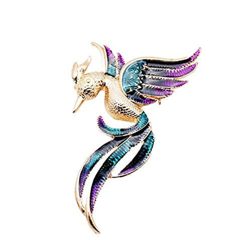 W WOOGGE Woogge Women's Bird Brooch Fashion 18K Gold Phoenix Bird Colorful Enamel Animal Brooches And Pins For Girls