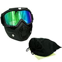 EKIND Tactical Paintball Mask | Retro Harley Motorcycle Goggles With Removable Face Mask | Airsoft Safety Goggles Mask UV400 Protection For Nerf N-strike Elite Toy Gun Game Rival Ball