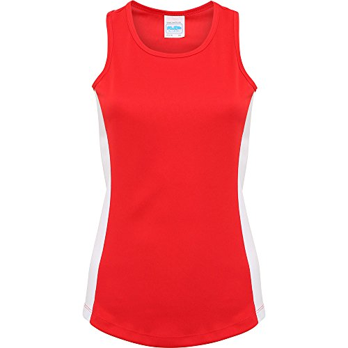 Awdis Cool Ladies Girlie Cool Contrast Vest Fire Red/ Arctic White