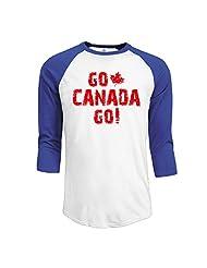 Men's Go Canada Go Canadian Maple Leaf Logo 3/4 Sleeve Baseball T-shirts Black (3 Colors)