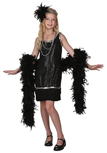 Kids Flapper Costumes (Big Girls' Black Sequin And Fringe Flapper Costume Small)