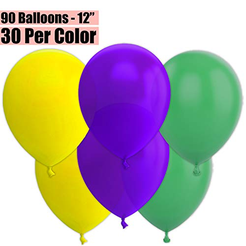 12 Inch Party Balloons, 90 Count - Yellow + Deep Purple + Jade Green - 30 Per Color. Helium Quality Bulk Latex Balloons In 3 Assorted Colors - For Birthdays, Holidays, Celebrations, and More!!
