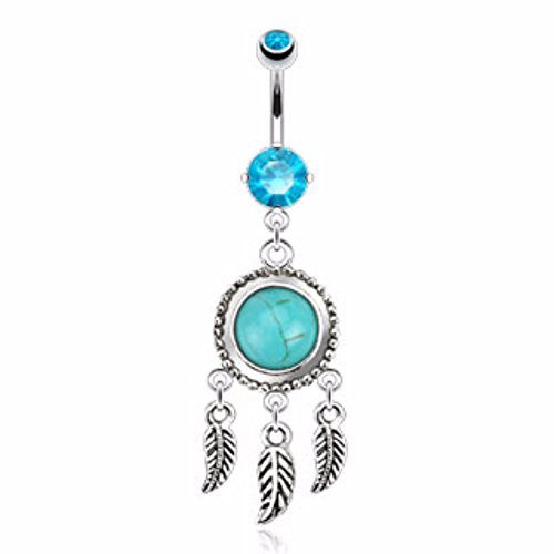 Dream Catcher Turquoise Precious Stone Navel Ring Freedom Fashion 316L S. Steel