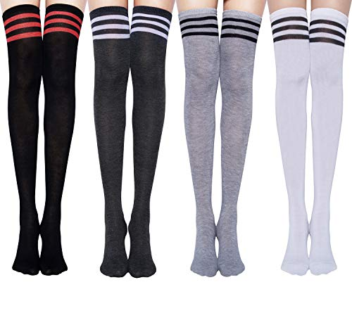 Chalier Womens Long Socks Striped Thigh High Socks Cotton Over the Knee Socks Boot Stockings Leg Warmers