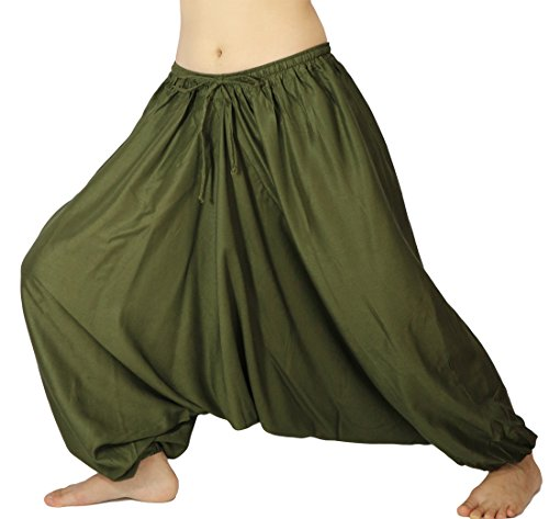 Lovely Creations Unisex Plus Size Baggy Aladdin Hippie Yoga Harem Casual Pants(HC Seaweed green),US size 4-14