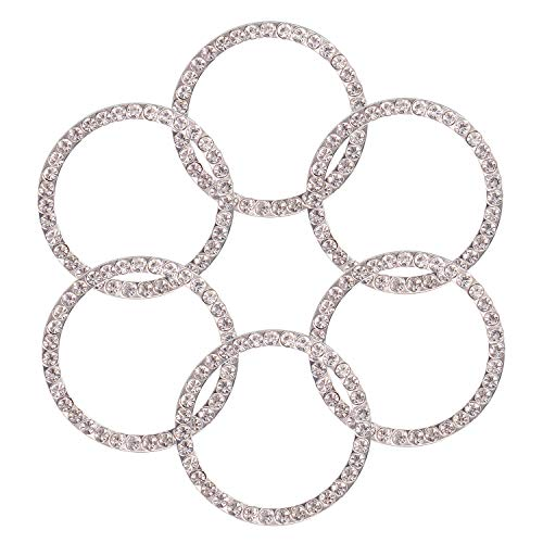 TOBATOBA 6 Pack Crystal Rhinestone Car Bling Decorations Ring Emblem Sticker Decor Car Engine Start Stop Accessories for Men and Women, 6 Pieces