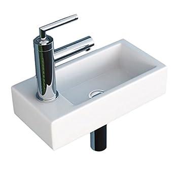 Englische Waschbecken neg waschbecken uno41h klein eckig armatur links hänge