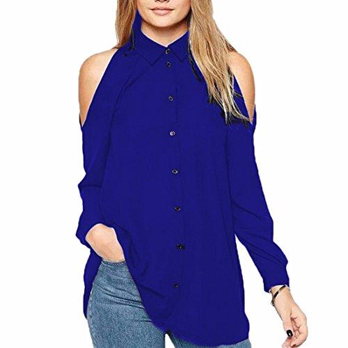 Ai.Moichien Envío gratis Crop Cold Shoulder de manga larga de botones de gasa Tops Blusas camisa de vestir Royal Azul