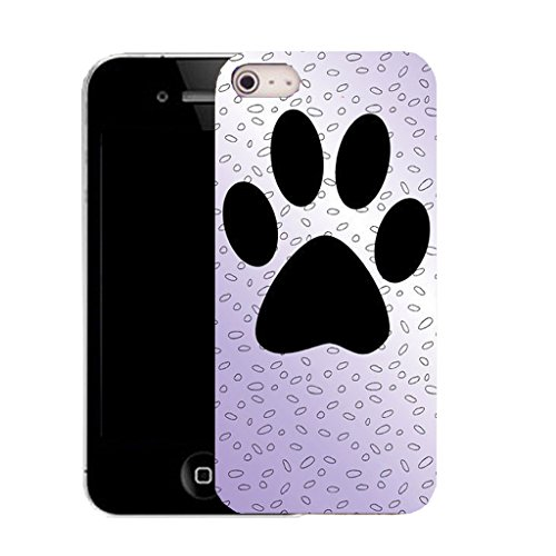 Mobile Case Mate IPhone 5S clip on Silicone Coque couverture case cover Pare-chocs + STYLET - large paw print pattern (SILICON)